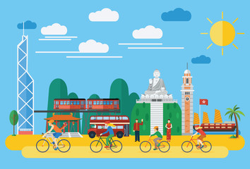 Flat design, Happy family riding bicycles in Hong Kong,vector