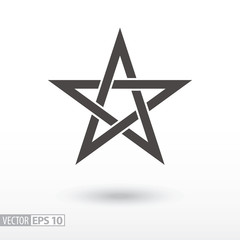 Sign Star. 5-point Celtic star knot. Pentagram