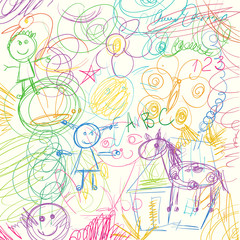Colored pencils scribbles made by a little kid