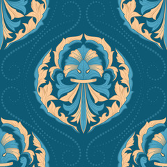 Damask Seamless Pattern in the Oriental Style. Elegant Luxury Texture for Textile, Wallpapers, Backgrounds and Wrapping.