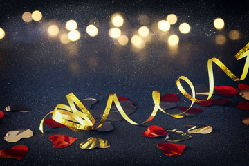 Abstract image of festive ribbon decoration and hearts