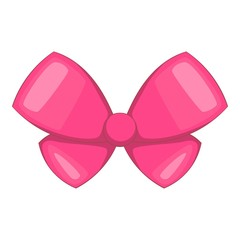 Pink bow icon. Cartoon illustration of pink bow vector icon for web design