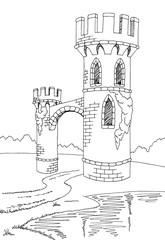 Old tower graphic black white lake landscape sketch illustration vector