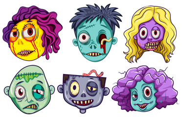 Zombie characters with male and female