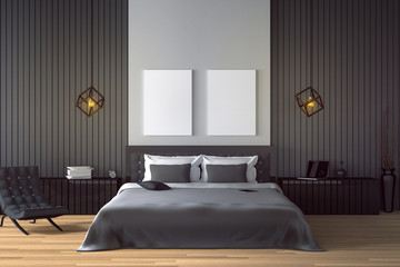 3D rendering : illustration of modern house interior.bed room part of house.Spacious bedroom in black and white style.modern furniture,big bed and decorative.mock up white frame.tablet and laptops
