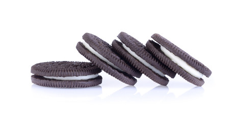 sandwich cookies with cream on a white background