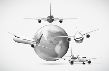 Airplanes flying around the earth in grayscale