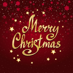 Merry Christmas calligraphic lettering with stars. Vector card