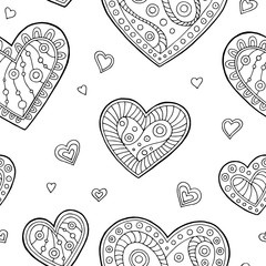 Heart graphic doodle black white seamless pattern illustration vector