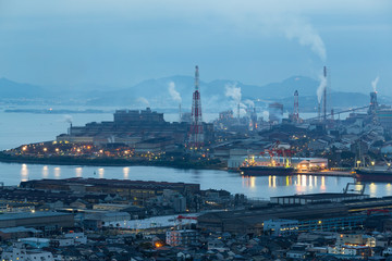 Industry factory in Kitakyushu at night
