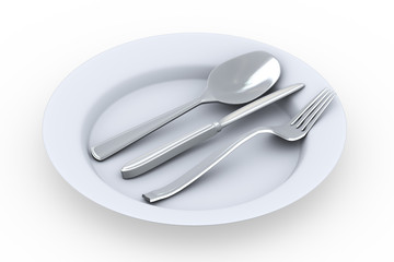 3d  fork, spoon and knife in plate