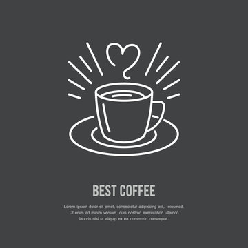 Coffee cup vector line icon. Barista equipment linear logo. Outline symbol for cafe, bar, shop.