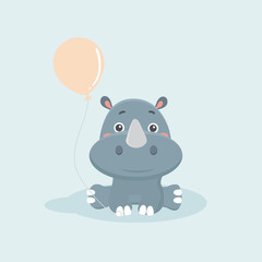 Cartoon funny rhinoceros.
