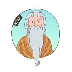 Vector cartoon portrait of old Noah