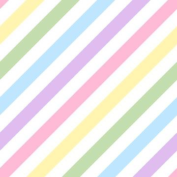 パステルカラーの虹色カラフルなバイアス(斜め)ストライプ柄シームレスパターン ベクター