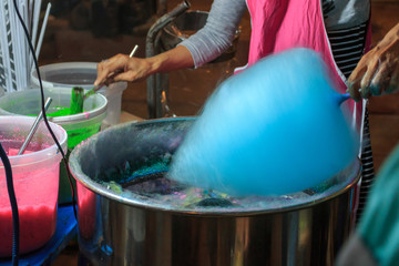 cotton candy, It is made from sugar and a dessert , Thai street
