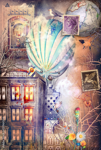 Steampunk Hot Air Balloon In The Dark Town Stock Photo And