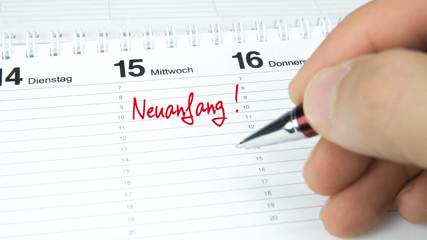 Neuanfang / Termin im Terminkalender / Terminplaner