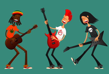 funny cartoon guys playing guitar and singing passionately