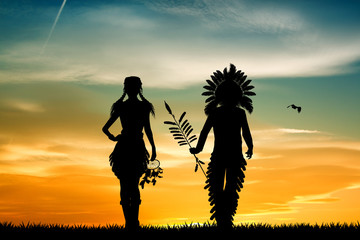 Indians couple at sunset