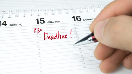 Deadline / Termin im Terminkalender / Terminplaner