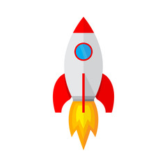 Spaceship icon in flat design. Vector illustration.
