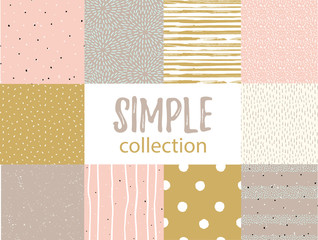 Fototapeta Vector seamless patterns with universal simple textures. Set for fabric, gift wrap and wallpaper. obraz