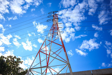 high voltage electric pole, red and white color electric pole
