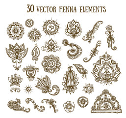 Vector illustration set with abstract floral elements in indian style. Henna collection.