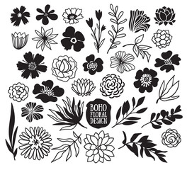 Boho black decorative plants and flowers collection. Hand drawn vector design elements.