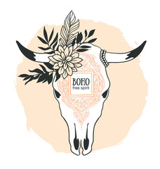 Hand drawn cow skull with ornament, flower, leaves and feather. Bohemian design for t-shirt. Vector illustration.