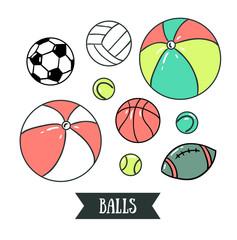 Freehand drawing sport balls. Vector illustration. Set of sports design elements.