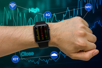 Smartwatch in Investment Business Concept Showing Stock Price via Internet