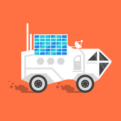 Vector flat style illustration of space rover with solar panel