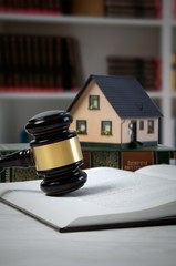 Law gavel and house loan concept.