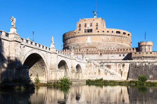 Castel Sant'Angelo and St Angel bridge in Rome