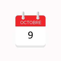 icone rouge à spirale calendrier