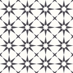 Black and white octagonal stars. Seamless vector pattern background.