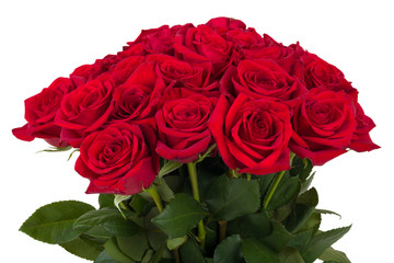 Bouquet of fresh valentine red roses isolated