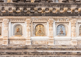 Decorated panel around pagoda at Mahabodhi Temple, Gaya, India