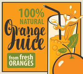 vector banner with a glass of fresh orange juice