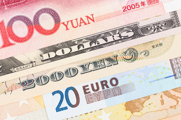 Us Dollar, Euro, Japanese Yen, and Chinese Yuan banknote money