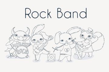 Funky animals rock band. Cute children music illustration.
