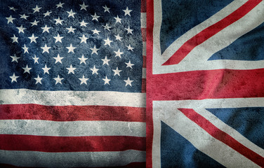 Mixed Flags of the USA and the UK. Union Jack flag.Flags of the USA and the UK Divided vertically..