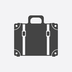 Suitcase flat vector illustration on white background. Case for tourism, journey, trip, tour, voyage, summer vacation.