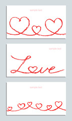 Set of fun wax crayon hand drawn cards with valentine`s day`s love heart on white. Hand painting pastel chalk lines art background. Red design elements, vector.