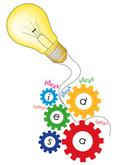 ingranaggi di idee con lampadina