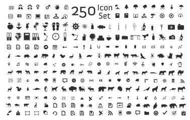 Set of 250 animal,business,internet icons