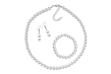 Fashion set of a necklace, a bracelet and a pair of earrings made of silvery medium-sized round beads like pearls, fashion isolated on white background, clipping path included