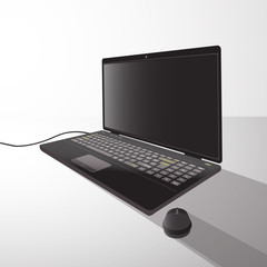 laptop with mouse from side illustration